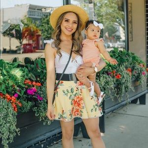 Forever21 yellow floral skirt